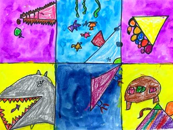 宝贝计画儿童美术绘画作品:小鱼买冰淇凌