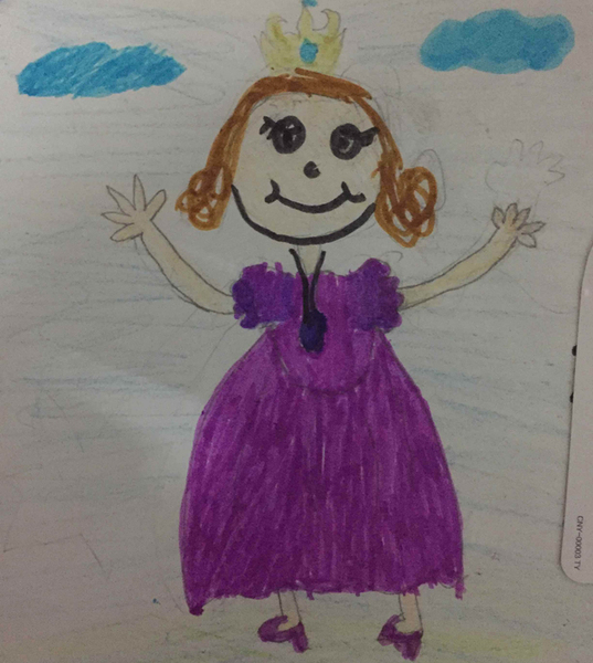 随着我们钰然小朋友的魔法笔,一张小公主苏菲亚的画就出现在我们眼前
